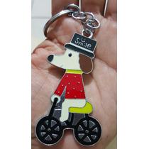 Perro En Bicicleta Precioso Llavero Metalico Perro 1203