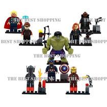 Set 8 Figuras Compatible Lego Superheroes Hulk Iron Capitan