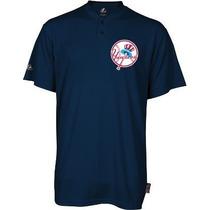 Majestic Yankees Ny Cool Base Jersey Henley 2 Botones Nueva