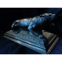 Antigua Escultura Tigre De 1940 Henry Tipo Bronce Art Deco