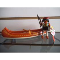 Indio Con Arco Y Canoa Playmobil