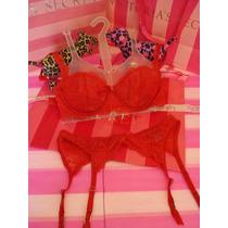 Victorias Secret Conjunto Bra Liguero Lace Etiqueta 34b/s