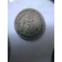 Monedas Antiguas 5 Centavos 1913 Fecha Angosta Y Ancha