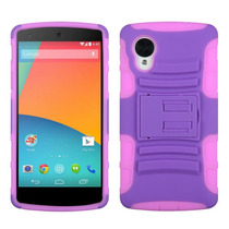 Funda Protector Mixto Lg Nexus 5 D820 Morado/rosa C/pie