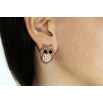 Arete Moda Dorado Búho Cristales Perlas Piedras Negras Ar484