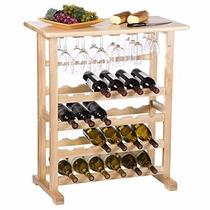 Estante Para Vino 24 Botellas Y Copas En Madera Haya Natural