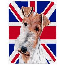 Fox Terrier Del Alambre Con La Unión Jack Británica Inglé