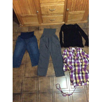 Lote 4 Blusas Pantalones Jeans Capri Maternidad Motherhood S