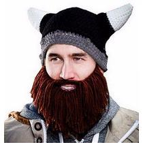 Gorro Invernal Casco De Vikingo Tejido Con Barba Unitalla
