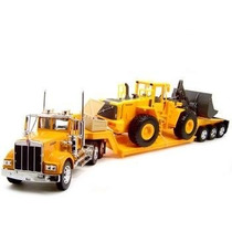Tb Kenworth W900 Low Boy Trailer Truck With Bulldozer 1:32