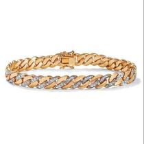 Hombres Detalles De Diamantes 9 Mm Encintado Link-pulsera De
