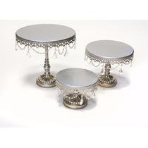 Set 3 Bases Metalicas Con Cristal Para Pastel Decorativas