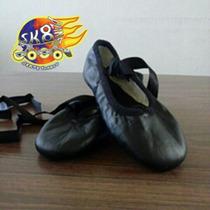 Zapatillas Ballet Negras Media Punta Piel Talla 20.5