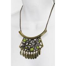 Collar Moda Color Oro Viejo Hojas Verdes
