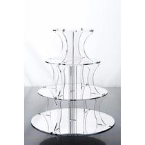 Base 4 Niveles Cupcakes Acrílico Transparente Elegante