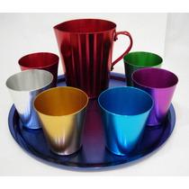 Juego 6 Vasos, Jarra Charola, Aluminio Adonizada Vintage