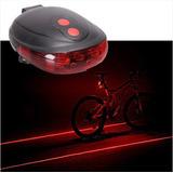 Luz Trasera Roja Bicicleta 5 Leds Mas Carril Laser 7 Pasos