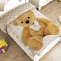 Teddy Osito Frazada Cunero Cobertor Bebe Ligero 1.10* 90 Cun