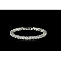 Brazalete Cristales Pulsera Chapa De Platino Dama Elegante