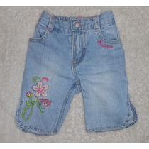 Skechers! Jeans Capri Con Flores Bordadas, Talla 12 Meses