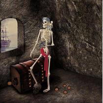 Esqueleto Pirata Y Cuervo 1.50m Decoración Halloween