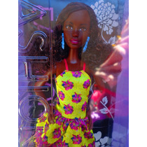 Barbie Fashionista Afroamericana Pelo Chino Vestido Amarillo