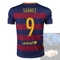 Jersey #9 Suarez Barcelona Roja Azul Nike 2016 Local Playera