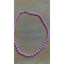 Collar De Perlas Cultivadas Color Rosa