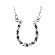 Collar De Herradura Negro Y Blanco Diamante En Plata De Ley