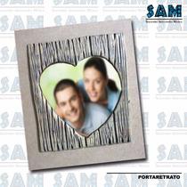 Portaretrato Resina Corazon Madera Amor Foto Recuerdo