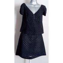 Traje Conjunto Falda Y Blusa Negro Gipiur Calado Thipharet M