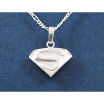 Dije Superman 3 Fina Plata 925 Con Cadena 45 Cms A11-1