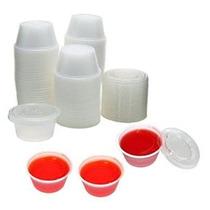 2 Oz. Copas De Plástico Con Tapas - Envase De 125