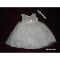 Nuevo Vestido Blanco Bautizo Ropon 3 - 6 Meses Tul Petalos