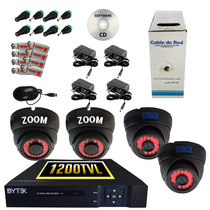 Kits Cctv 4 Cám. Domo 2 Zoom Manual - 2 Lente Fijo Para Ext.