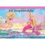 Kit Imprimible Barbie Sirena Tarjetas Cumpleano Invitacion 9