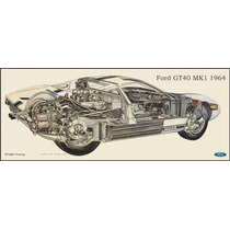 Lienzo Tela Auto Ford Gt40 Mk1 Sketch Original 1964 38x90 Cm