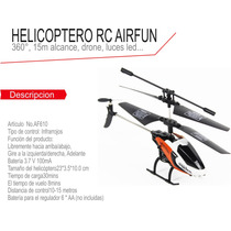 Helicoptero Dron Control Remoto 15m Alcance Luz Led 3 Canale