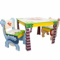 Mesita De Madera Infantil Juego 2 Sillas Diseño Dinosaurios