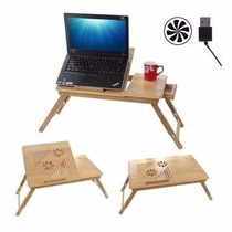 Base Mesa De Bambu Cama Ventilador Laptop De 10 - 16 Enfria