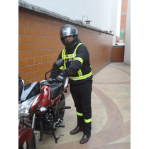 Kit Chaleco Arnés Brazalete Reflejante Motociclista Neon