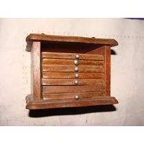 Antiguo Portavasos De Madera Con Su Estuche , Le Falta Uno