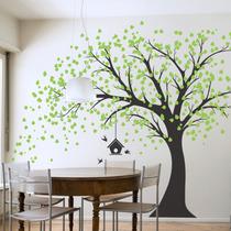 Increíble Vinilo Decorativo Árbol Y Casita De Pájaros