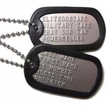 Par Placas De Identificación Dogtags Eeuu Army Militar Acero