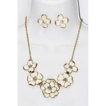 Conjunto Elegante Flores Collar Y Aretes Ce15