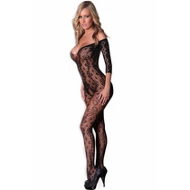Sexy Body Baby Doll Negro De Encaje Con Mangas Table Dance