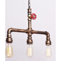 Lampara Rustica Vintage Tuberia Bulbo Edison Decoracion