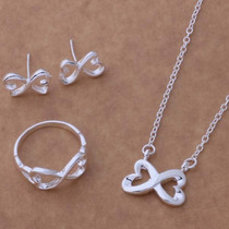 Set Collar Aretes Anillo Mujer Joyería Fina Infinito Corazón