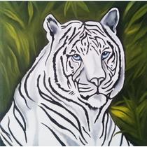 Cuadro Decorativo Al Oleo Pintado A Mano Tigre Bco