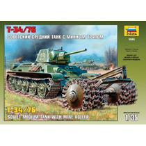 Tanque Zvezda T34 76 1/35 Con Roller De Minas Armar Y Pintar